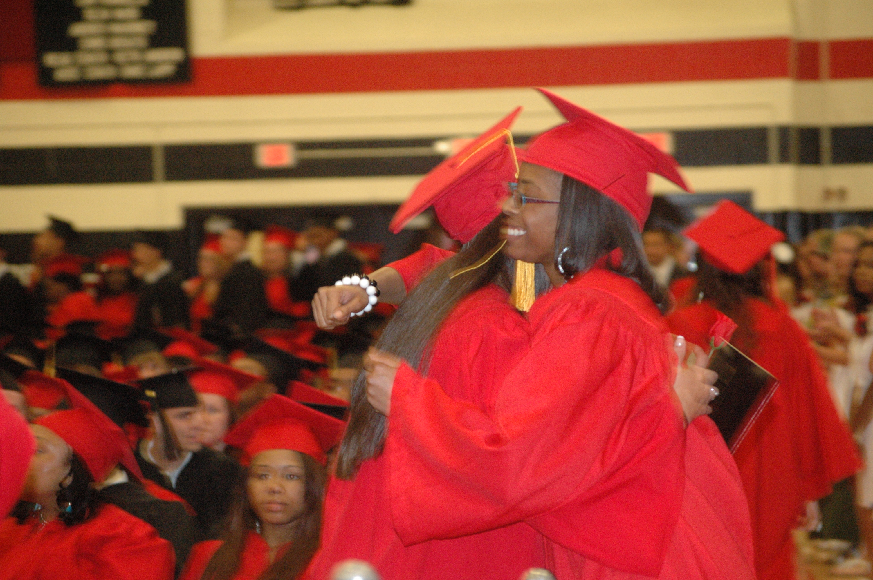 Hugs were plentiful at the Coatesville Area Senior High School commencement.