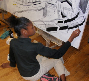 Serenity Pittman, 10, from Caln Elementary school, works on .