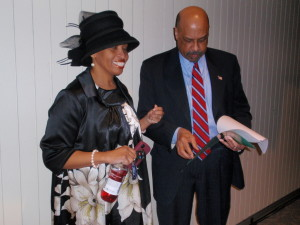 Tonya Thames Taylor discusses the program with Chester County Commissioner Terence Farrell.