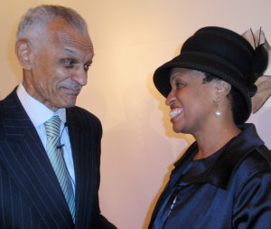 Rev. C.T. Vivian (left) chats with Dr. Tonya Thames Taylor after the program at CASH.