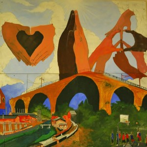 The upper parts of the mural show landmarks from the city as it is today with the students' hopes for the future above.