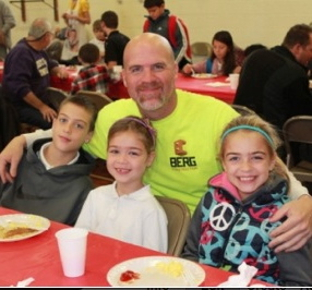 Jason Stewart enjoys breakfast with his three children: Jacob, 4th grade; Ava, first grade; and Faith, 3rd grade. Ava, Faith, and Jacob Stewart with their Dad, Jason Stewart