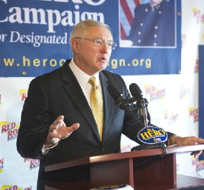 State Police Commissioner Frank Noonan was one of the speakers at a news conference announcing Pennsylvania's participation in a designated-driver campaign to prevent tragedies on state roadways.