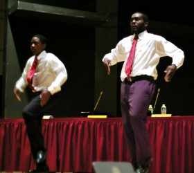 CASH's BRIDGEE Step Team performs at Tuesday night's meeting.