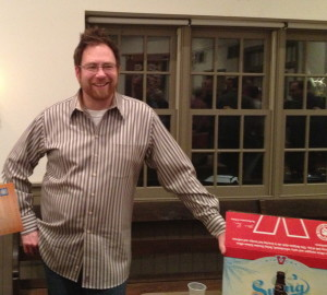 Bill Covaleski, co-founder of Victory Brewing Company, shares more beer samples and conversation after his well-received lecture at the Chadds Ford Historical Society.