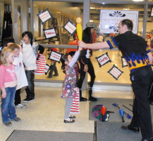 Kevin Fitzpatrick of West Chester demonstrates his juggling skills to an appreciative audience.