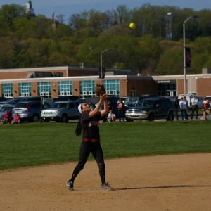 Shortstop Corinne Byerly looks in a fly ball. Bylerly played outstanding defense, not letting anything past.
