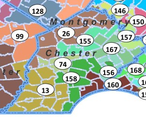 The new State House districts for Chester County, including the new 74th District, centered around Coatesville.