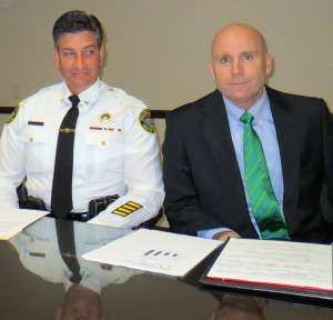 Tredyffrin Township Police Superintendent Anthony Giaimo (left) and Chester County District Attorney Tom Hogan discuss the need for another county detective who specializes in child-abuse investigations.