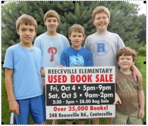 Students from Reeceville Elementary hope the public will support the school's 10th annual used-book sale, a fund-raiser that benefits enrichment programs at the school