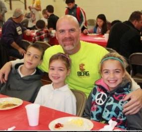 Jason Stewart enjoys breakfast with his three children: Jacob, 4th grade; Ava, first grade; and Faith, 3rd grade. Ava, Faith, and Jacob Stewart with their Dad, Jason Stewart