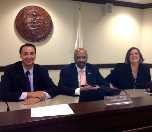 Chester County Commissioners Ryan Costello (from left), Terence Farrell, and Kathi Cozzone unanimously approved a 2014 budget with no tax increase.
