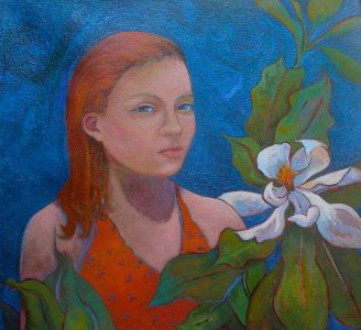 Girl with Magnolia by Lauren Litwa Holden, as featured at the Galer Estate Winery show.