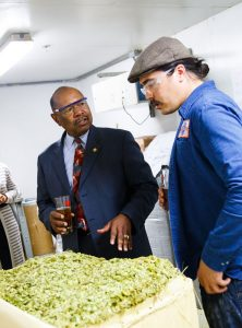 Rep. Lewis and Victory's Brewing Manager, Kenneth Thorpe discuss the various aromatic qualities in select hops.